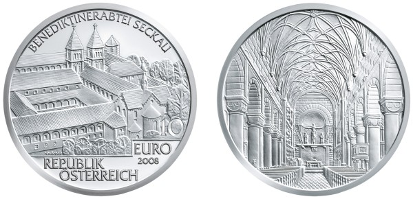 click for larger picture of 2008 Austria Silver 10 Euro Seckau Abbey