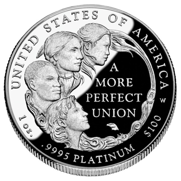 click for larger picture of 2009 W American Platinum Eagle Proof 1 ounce $100 (A more perfect union)