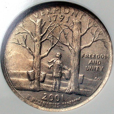 Coin Page: 2001 P Vermont State Quarter Dollar Obverse Clad